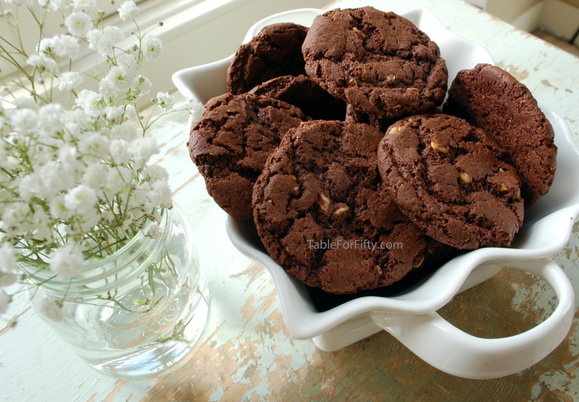 German Chocolate Macadamia Nut Cookies - Table for Fifty
